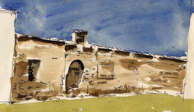 Antigua tapia con escudo en pza Salero-dib del autor